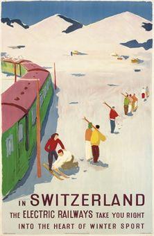 vintage ski poster. JEGERLEHNER, HANS (1906-1974)   SWITZERLAND, WINTER SPORT   lithograph in colours, 1950
