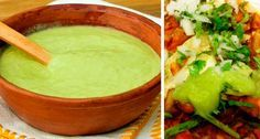 An exquisite sauce to accompany some good tacos, is this creamy green sauce with a consistency and c Authentic Mexican Recipes, Mexican Salsa Recipes, Mexican Dishes, Guacamole Salsa, Green Salsa, Mexican Cooking, I Love Food, Food And Drink, Cooking Recipes