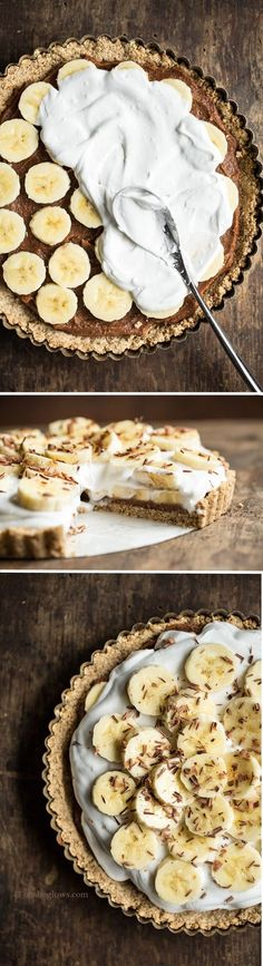 Banoffee Pie from My New Roots by ohsheglows: Vegan, gluten-free, refined sugar-free, soy-free. Who can resist the combo of coconut whipped cream, banana, oats, and date caramel?