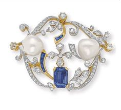 AN ANTIQUE DIAMOND, SAPPHIRE AND PEARL BROOCH   Designed as an openwork old European and single-cut diamond scrolling plaque of foliate design, set with a cut-cornered rectangular-cut sapphire and two baroque pearls, each measuring approximately 11.90 mm, with calibré-cut sapphire detail, mounted in platinum and gold, circa 1890