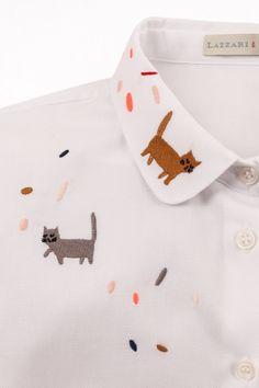 Camicia ricamata con gatto Luigi - illustrazione di Kate Pugsley Abbigliamento Donna Made in Italy
