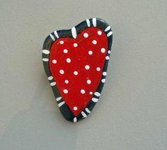 Handpainted stone red and black heart pin by geminiriverrocks #hvnyteam