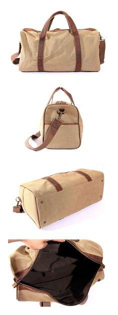 Canvas Leather Travel Bag Dufulle Bag Holdall