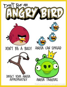 """Don't Be An Angry Bird"" Printables. this is the best and free .... great for teachers, therapist  or moms dealing with behavior problems.  I love it !!"