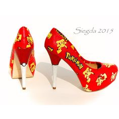 Pikachu Pokeball Glitter Heels- Pokemon- Poke'mon- Geek- Geek-... ❤ liked on Polyvore featuring shoes, pumps, special occasion shoes, evening pumps, cocktail shoes, glitter pumps and holiday shoes