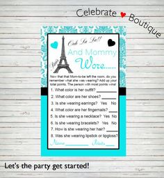Paris baby shower invitation french baby shower invitation eiffel paris baby shower instant download what is mommy wearing game and mommy wore game parisian stopboris Gallery