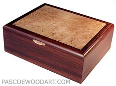 Cocobolo box -Handmade Men's box - Men's Valet or Keepsake Box - Cocobolo box with maple burl top - Handcrafted wood box for man: Wood Shop Projects, Wooden Projects, Wooden Keepsake Box, Keepsake Boxes, Wooden Jewelry Boxes, Jewellery Boxes, Wooden Box Designs, Jewelry Box Plans, Box Maker
