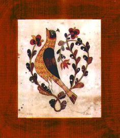 Fractur - Small Bird, American Folk Art, Collectible, Affordable Art