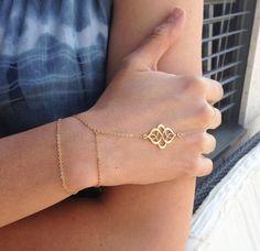 Boho Finger Bracelet Gold Finger Bracelet Gold Slave by MinimalVS, $38.00