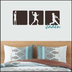 SPORTS squares - football - soccer - baseball - hockey - basketball - Vinyl Decal Wall ART on Etsy, $35.00