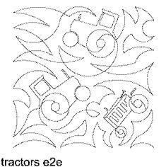 Tractors Free Machine Quilting Pattern