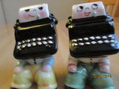 Vintage Ceramic Typewriter Salt and Pepper Shakers - PY Japan