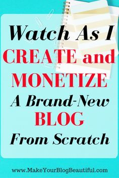Watch me create and monetize a brand new blog from scratch! Follow along and see what I do each step of the way.
