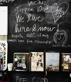9 ways to use a chalkboard wall: Paint the wall behind a picture ledge and leave messages for your family