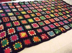 """Vtg Crocheted 4"""" Fringed Afghan Granny Squares Black Multi Color Handmade 44x84  #Handmade #VintageRetroCottage"""