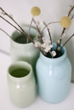 craftedbylindy: DIY- Pretty Painted Glass Jars