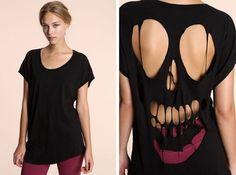 Totenkopf T-Shirt selber machen, Halloween Kostüme