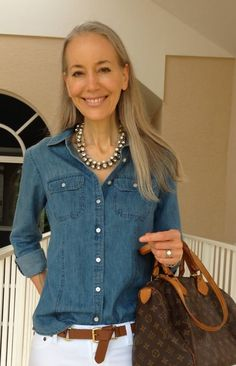 Nothing says summer better than denim. Pair this with a statement long tassel necklace with leather for a complete look. Summer fashion over 50 | Outfit ideas for over 40 in Summer | Summer outfit idea