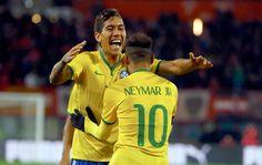 Firmino comemora gol do Brasil contra a Austria (Foto: Agência Reutes).18/11/2014.
