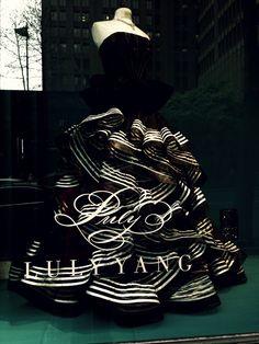 Luly Yang dress in a window in Seattle