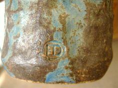 Elizabeth Duncombe Tall Studio Pottery Vase. CPA, Ex-Camberwell School of Art - ED mark