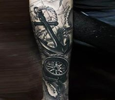 Anchor and Compass tattoo by Khuong Duy