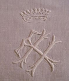antique French linen with crown and TH monogram