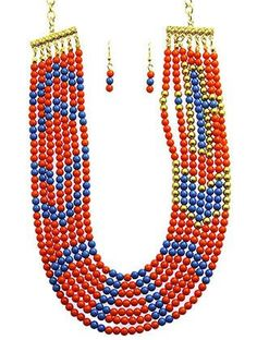 NECKLACE AND EARRING SET Sku: PLS1242GDORG
