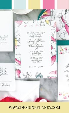 Feminine, colorful, and so much fun, the Garden Party Wedding Invitation Suite is full of whimsy and romance. This suite is perfect for a modern summer wedding and features hot pink, teal green, bright yellow, and romantic floral sketches along with the watercolor flowers! Mix and match envelope and text colors to make this wedding invite ideal for your Big Day. See below for all the details and corresponding pieces!