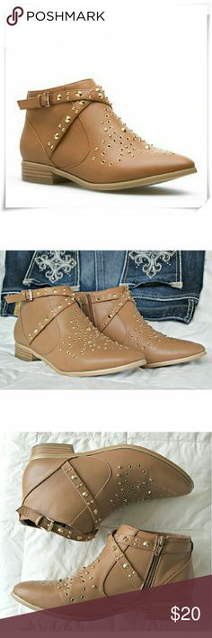 """Dione western style booties. Western style booties in cognac color with studs embellishments all over them. Two decorative straps at the anckle. Zip clouser. Worn a couple of times, no noticeable wear on the shoe, exept for the soles. Soles look more worn in the picture, because they were fuzzy. The shoe was washed and ready to wear.  Details: heel 1"""", fits TTS.   Please use only ✔OFFER  button for all price negotiations. I'll do a price drop⤵ for you for discounted shipping, if we agree…"""