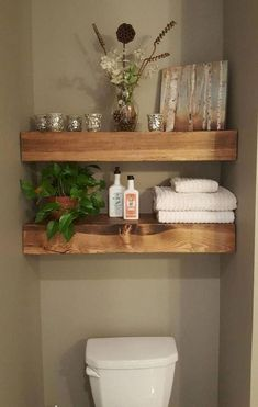 Shipping within two weeks! Shown Patch Color: Provincial Floating Wood Shelves -… Shipping within two weeks! Shown Patch Color: Provincial Floating Wood Shelves -… – Bathroom Organization, Bathroom Storage, Organization Ideas, Organized Bathroom, Towel Storage, Hanging Storage, Storage Shelves, Wc Decoration, Regal Bad
