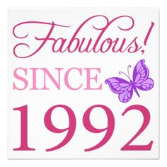 Fabulous 1992 Birthday Gift Custom Invite