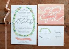 painted invite - something more fall, but like this layout. Darker colors, fruits and veg in garland.