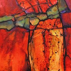 """Daily Painters Abstract Gallery: Colorful Contemporary Geological Abstract Art """"Canyon Colors-Mini"""" by Colorado Mixed Media Abstract Artist Carol Nelson"""
