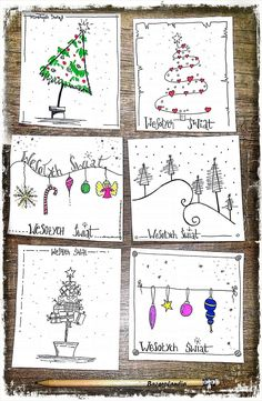 9 More Easy Homemade Christmas Cards with Step by Step Instructions – DIY Fan Christmas Cards Drawing, Christmas Doodles, Christmas Card Crafts, Homemade Christmas Cards, Xmas Cards, Christmas Art, Christmas Projects, Diy Cards, Handmade Christmas
