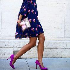 Enamoradas de este oufit azul marino de barquillas en tonos que contrastan con el fondo y con los hermosos tacones Magenta! Que les parece!?... #Fashion #Glam #Beauty #Bonica_Accesoris #Bright