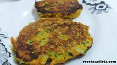 TORTITAS DE CALABACÍN Y ZANAHORIA - Recetas a dieta Veggie Cheese, Weekday Meals, Led Weaning, Spanish Food, Sin Gluten, Veggie Recipes, Salmon Burgers, Quiche, Recipies