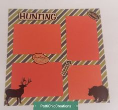 Hunting Premade Page, 12 x 12, Outdoor Hunter Bear Deer, Call of the Wild Camo