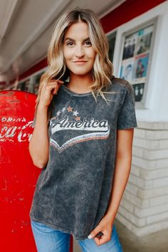 American Vintage Wash Charcoal Tee Magnolia Boutique, White Denim Shorts, White Sneakers, Her Style, Charcoal, Graphic Tees, Model, Decal, How To Wear