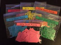 Free Hundreds Chart Puzzles  My students love doing Math Centers and I am always looking for ones that can be used at any time of the year.These Hundreds Chart Puzzles are PERFECT for Math Centers!  I print them off on different colors of paper to help with the organization or lost pieces. Each puzzle has its own bag and are small enough to easily store.  The template is an easy way to create many different puzzles. All you have to do is cut each one in a different way.Cheers 100s chart 1st…