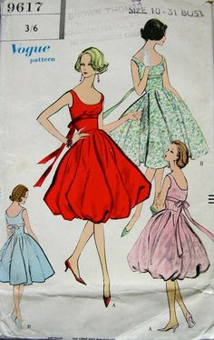Vintage Vogue Cocktail Dress Pattern No. 9617 from late 1957