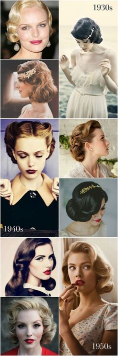 changing hair styles through the decades 30's, 40's and 50's