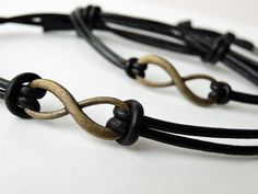 black leather infinity bracelet for him and her