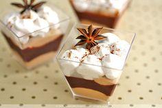 Spiced Chocolate Mousse    with valrhona dark choc ganache center and cinnamon foam.