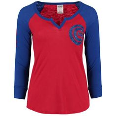Women's Chicago Cubs PINK by Victoria's Secret Red/Royal Split Neck Long Sleeve T-Shirt