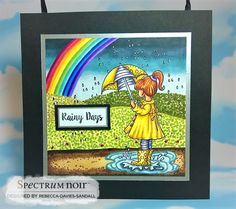 "8"" Wall hanging or Free standing image by Rebecca Davies-Sandall  Stamps: Frankie Rainy Day by Cherry Green  Stamped onto Neenah Card and background hand drawn in. White posca pen used for highlights.   Coloured with Spectrum Noir pens: •Rainbow: DR6 +CR6, OR 3 + 1, CT4 + 1, AG2 + LG4, IB3 + 2, TB6 + 3, PL4 + HB2 •Hills: DG4 + 3 + 2, YG3 + 1 + LG2, CG4 + 3 + LG1 + DR2 •Track: EB8 + 6 + 4 + 2 •Puddle: BGR3 + VB2 + BGR1 •Sky: BGR5 + 3 + VB2 + BGR1 •Skin: TN4 + FS9 + 4 + 2 •Hair: TN9 + BO4 + 2…"