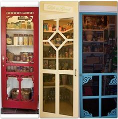 Screen doors repurposed as pantry doors. Ideas for old Doors and Windows Screen Door Pantry, Glass Screen Door, Old Screen Doors, Old Doors, Pantry Doors, Closet Doors, Art Teen, Door Design, House Design