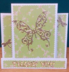 butterfly hand made easel thank you card