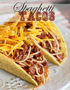 Spaghetti Tacos - surprisingly AMAZING - kids go nuts over these (and I like them too!)