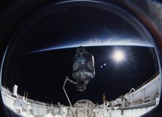 Fifteen Years Ago, International Space Station Assembly Begins: On Dec. the crew of space shuttle mission began construction of the International Space Station, attaching the U.-built Unity node and the Russian-built Zarya module together in orbit. Nasa Photos, Nasa Missions, Aerospace Engineering, Space Photos, Space Images, International Space Station, Our Solar System, Space Shuttle, Space Travel